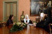 Святейший Патриарх Кирилл встретился с губернатором Ханты-Мансийского автономного округа Н.В. Комаровой и митрополитом Ханты-Мансийским Павлом